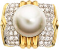 Estate Jewelry:Rings, South Sea Cultured Pearl, Diamond, Gold Ring T...