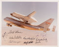 Explorers:Space Exploration, Space Shuttle ALT and Early Crew: Enterprise Color Photo Signed by Nine. ...