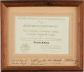 Explorers, Mercury Seven Astronauts: Mercury Preflight Operations Award Signed on the Mat by All Seven, in Framed Display....