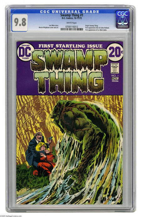 Swamp Thing #1 (DC, 1972) CGC NM/MT 9.8 White pages. In a way, this is the true first appearance of Swamp Thing, since the c...