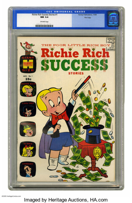 Richie Rich Success Stories #1 File Copy (Harvey, 1964) CGC NM 9.4 Off-white pages. This is one of the earliest of the many ...