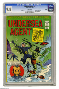 Undersea Agent #1 Curator pedigree (Tower, 1966) CGC NM/MT 9.8 White pages. Wow, a 9.8 copy of a square bound comic? Thi...