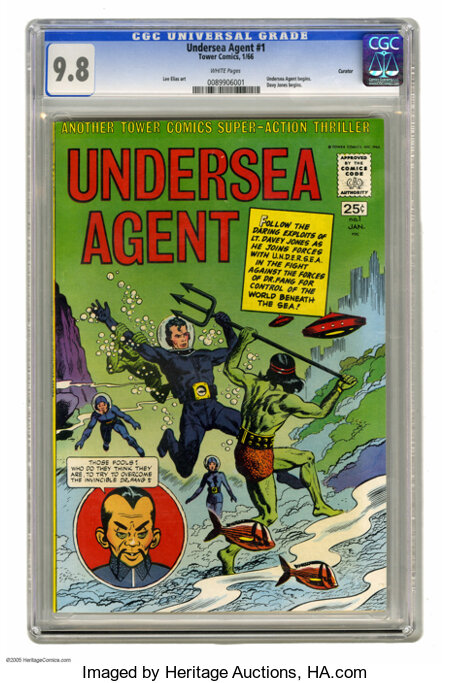 Undersea Agent #1 Curator pedigree (Tower, 1966) CGC NM/MT 9.8 White pages. Wow, a 9.8 copy of a square bound comic? This is...