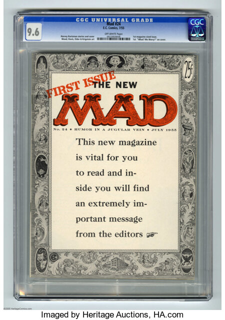 Mad #24 (EC, 1955) CGC NM+ 9.6 Off-white pages. The Mad comic broke new ground and blew the minds of many of its readers...