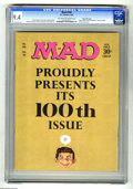 """Magazines:Humor, Mad #100 Gaines File pedigree (EC, 1966) CGC NM 9.4 Off-white towhite pages. This anniversary issue features a """"Hush, Hush,..."""
