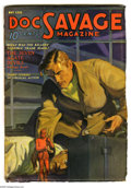 Pulps:Hero, Doc Savage May 1936 (V7#3) (Street & Smith, 1936) Condition: VG+. Cover art by Walter Baumhofer features a spooky little dev...