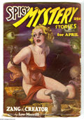 Pulps:Horror, Spicy Mystery April 1936 (V2#6) (Culture, 1936) Condition: VG+.Classic cover features a bound, nearly-nude blonde being men...