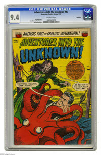 Adventures Into the Unknown #47 Northford pedigree (ACG, 1953) CGC NM 9.4 Off-white pages. An ardent octopus and a despe...