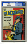 Golden Age (1938-1955):Adventure, Blackhawk #17 Mile High pedigree (Quality, 1947) CGC NM+ 9.6 Off-white to white pages. Here's a clean, beautiful Mile High f...