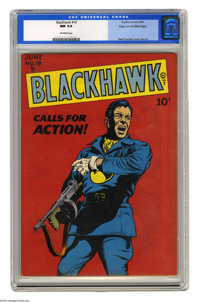 """Blackhawk #19 Mile High pedigree (Quality, 1948) CGC NM 9.4 Off-white pages. """"Hawkaaa-aaa!"""" Oh, excuse us, we'..."""