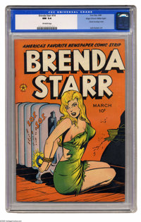 Brenda Starr #14 (#2) Mile High pedigree (Four Star, 1948). Classic bondage cover, with Jack Kamen art featured in this...