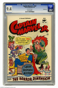 Captain Marvel Jr. #107 Crowley Copy pedigree (Fawcett, 1952) CGC NM 9.4 Off-white pages. A look at this white-cover cop...