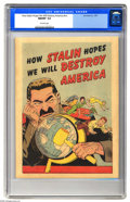 Golden Age (1938-1955):Non-Fiction, How Stalin Hopes We Will Destroy America #nn (Joe Lowe Co., 1951)CGC NM/MT 9.8 Off-white pages. This great Cold War period ...