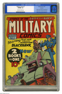 Military Comics #1 Rockford pedigree (Quality, 1941) CGC VF/NM 9.0 Off-white to white pages. This key Golden Age book in...
