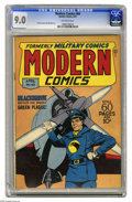 Golden Age (1938-1955):War, Modern Comics #60 (Quality, 1947) CGC VF/NM 9.0 Off-white pages.Reed Crandall cover and art on Blackhawk. Other features in...