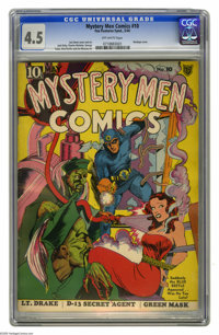 Mystery Men Comics #10 (Fox, 1940) CGC VG+ 4.5 Off-white pages. Bondage cover by Joe Simon. Jack Kirby, George Tuska, an...