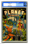 Golden Age (1938-1955):Science Fiction, Planet Comics #10 (Fiction House, 1941) CGC VF 8.0 Cream tooff-white pages. This comic's otherworldly action cover has been...