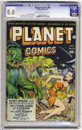 Golden Age (1938-1955):Science Fiction, Planet Comics #25 (Fiction House, 1943) CGC VF 8.0 Cream tooff-white pages. This was the last cover from Dan Zolnerowich, w...