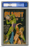 "Golden Age (1938-1955):Science Fiction, Planet Comics #36 Rockford pedigree (Fiction House, 1945) CGC VF+8.5 Cream to off-white pages. The ""black of space"" backgro..."