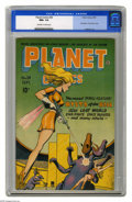 Golden Age (1938-1955):Science Fiction, Planet Comics #38 (Fiction House, 1945) CGC NM+ 9.6 Off-white towhite pages. Incredibly, this superb copy isn't from a pedi...