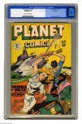 "Golden Age (1938-1955):Science Fiction, Planet Comics #60 (Fiction House, 1949) CGC VF/NM 9.0 Off-white towhite pages. The ""Lost World"" saga ""Vassals of Volta"" is ..."