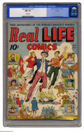 Golden Age (1938-1955):Non-Fiction, Real Life Comics #1 Denver pedigree (Nedor Publications, 1941) CGC NM- 9.2 White pages. Alex Schomburg provided the cover fo...