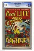 Golden Age (1938-1955):Miscellaneous, Real Life Comics #33 Big Apple pedigree (Nedor Publications, 1946) CGC NM/MT 9.8 Off-white to white pages. A Golden Age book...