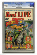 Golden Age (1938-1955):Miscellaneous, Real Life Comics #34 Big Apple pedigree (Nedor Publications, 1946) CGC NM/MT 9.8 White pages. Here's one we hadn't seen befo...