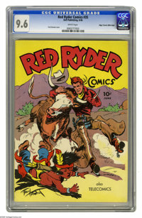 Red Ryder Comics #35 Mile High pedigree (Dell, 1946) CGC NM+ 9.6 White pages. Red sure knows how to handle that longhorn...