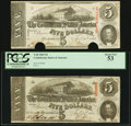 Confederate Notes:1863 Issues, T60 $5 1863 PF-20 Cr. 458; PF-27 Cr. 464.. ... (Total: 2 notes)