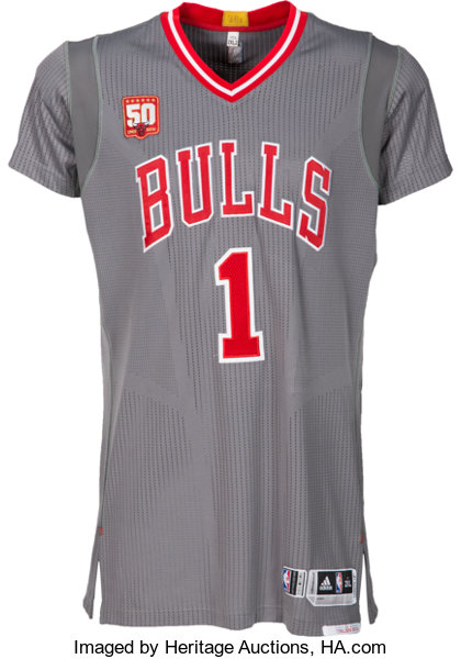 more photos b38dc a52bc ... Basketball CollectiblesUniforms, 2015-16 Derrick Rose Game Worn  Chicago Bulls Alternate RivalsJersey ...