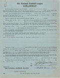Football Collectibles:Others, 1931 Green Bay Packers vs. Frankford Yellow Jackets Game Contract....