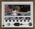 """Explorers:Space Exploration, Gene Cernan Signed Limited Edition, #AP 094/200, """"Golden Age of Space"""" Framed Display with Apollo 17 Medal containing Flown Me..."""
