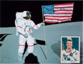 Explorers:Space Exploration, Alan Shepard Signed SpaceShots Trading Card with Lunar Flag Color Photo.... (Total: 2 )