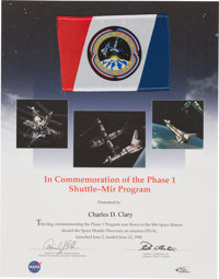 Space Shuttle Discovery (STS-91) Flown Phase One Shuttle-Mir Flag on Presentation Certificat