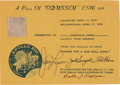 Explorers:Space Exploration, Apollo 13 Flown Segment of Couch Fabric on Crew-Signed Certificate. ...