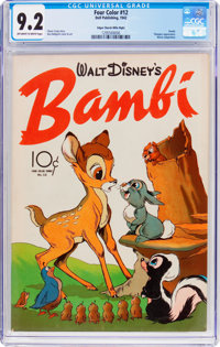 Four Color #12 Bambi - Mile High Pedigree (Dell, 1942) CGC NM- 9.2 Off-white to white pages