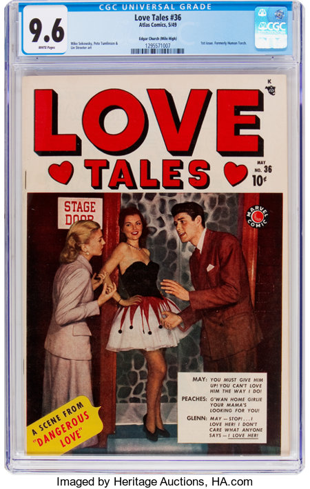 Love Tales #36 Mile High Pedigree (Atlas, 1949) CGC NM+ 9.6 White pages....
