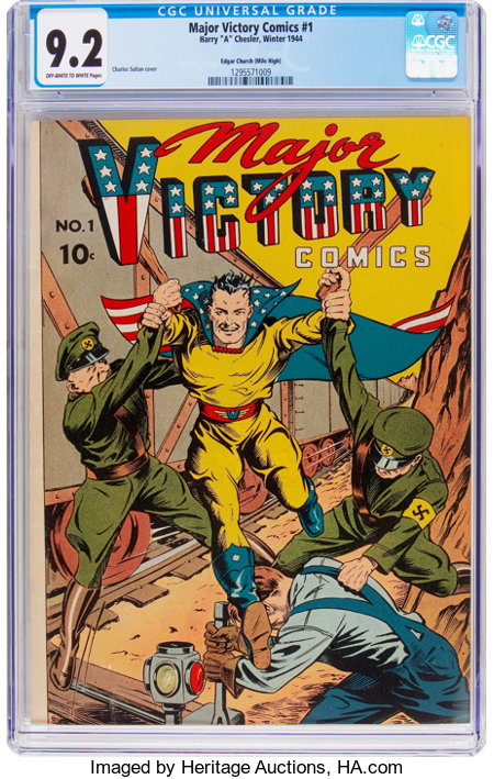 Major Victory Comics #1 Mile High Pedigree (H. Clay Glover Company, 1944) CGC NM- 9.2 Off-white to white pages....