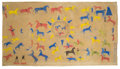American Indian Art, A Blackfoot War Record Panel by Big Spring. c. 1915...