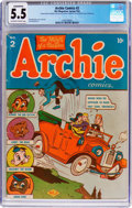 Golden Age (1938-1955):Humor, Archie Comics #2 (Archie, 1943) CGC Conserved FN- 5.5 Off-white to white pages....