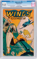 Golden Age (1938-1955):War, Wings Comics #94 (Fiction House, 1948) CGC VF/NM 9.0 Off-white pages....