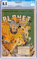 Golden Age (1938-1955):Science Fiction, Planet Comics #16 (Fiction House, 1942) CGC VF+ 8.5 Cream tooff-white pages....
