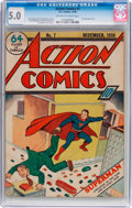 Golden Age (1938-1955):Superhero, Action Comics #7 (DC, 1938) CGC VG/FN 5.0 Off-white to white pages....
