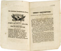 "Political:Small Paper (pre-1896), Pro-John Quincy Adams Publication from the 1828 Presidential Campaign. Booklet, ""Address of the Great State Convention of Fr..."