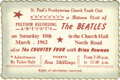 Music Memorabilia:Tickets, Beatles St. Paul's Concert Ticket. A ticket for the Beatles' March10, 1962, return performance at St. Paul's Presbyterian C...