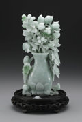 Asian:Chinese, CHINESE CARVED JADE/HARDSTONE. Chinese carved jade/hardstoneopenwork carving of a vase with peaches and flowering blossom...