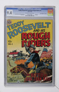 """Golden Age (1938-1955):Non-Fiction, Teddy Roosevelt & His Rough Riders #1 Davis Crippen (""""D"""" Copy)pedigree (Avon, 1950) CGC NM 9.4 Off-white to white pages...."""