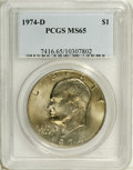 Eisenhower Dollars: , 1974-D $1 MS65 PCGS. PCGS Population (994/359). NGC Census: (902/233). Mintage: 45,517,000. Numismedia Wsl. Price: $28. (#7...