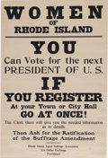 """Political:Posters & Broadsides (1896-present), Great Rhode Island Suffrage Broadside. Paper, 16.5"""" x 24.5"""", framedand matted to an overall size of 21.25"""" x 29.5"""", modern ..."""